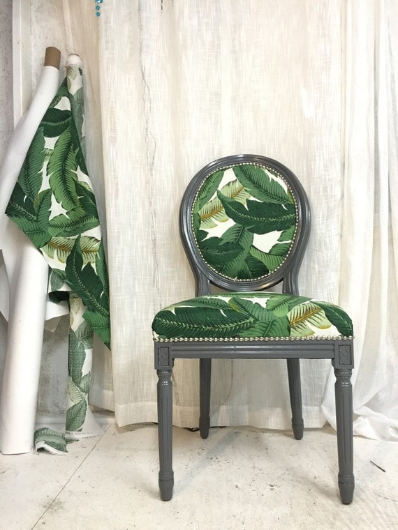 Banana leaf french louis xvi accent chair by throneupholstery
