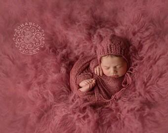 Newborn Bonnet, Henley Bonnet, Hand Knit Baby Bonnet, Baby Girl Bonnet, Newborn Baby Hat, 10 Colors