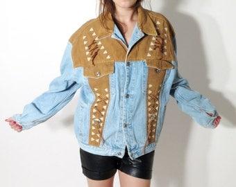 Vintage Men's RiverGold Western Denim Jacket Size M