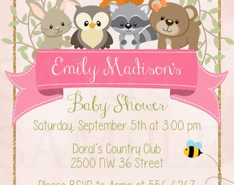 Cute Woodland Friends Forest Animals Girls or Boy Theme Baby Shower or Birthday - Printable File