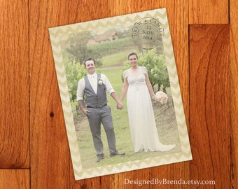 Vintage Chevron Wedding Thank You Card with Photo - Rustic Look - Printed on Recycled Matte Cardstock - Custom Designed with free shipping