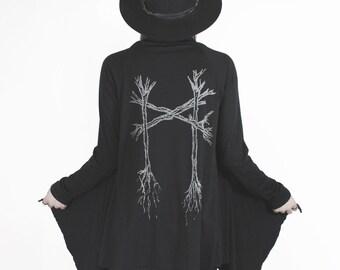 Mannaz Eco drape cardigan in black