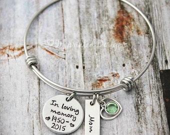 Wire Bangle - Charm Bracelet-Memorial Bracelet - In Loving Memory Of Mom-Dad-Grandma-Sister-Friend-Child-Loss Of A Loved One - Sympathy Gift