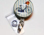 Retractable Badge Holder - Vintage Bike -  Shabby Chic - Stethoscope Id Tag- Nurse ID Badge Reel - Teacher Badge Holder - RN - Idr702
