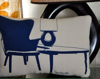 Decorative Pillow, Screen Printed Mid-Century Modern Furniture, Boomerang Table, Navy Blue and Natural Cotton