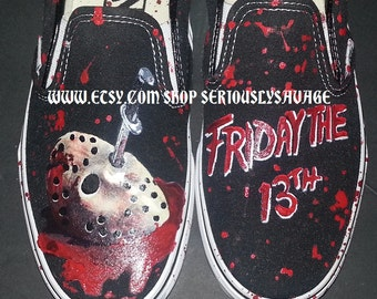 Jason Mask and Friday The 13th Custom Painted Classic Horror Movies Vans Converse Toms shoes.  Bloody Fantastic! Jason Voorhees