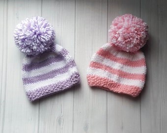 Knit Twin Baby Hat Set, Twin Baby Gift, Knit Baby Girl Hat Set, Twin Baby Girl Hat Photo Prop, Twin Hats, Baby Girl Twin Set
