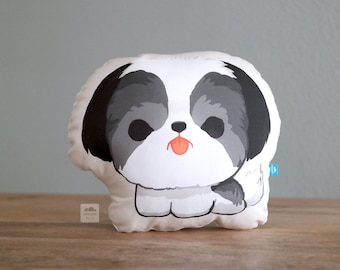 Black and White Shih Tzu Pillow