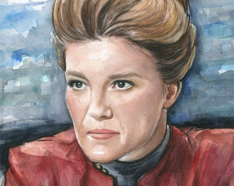 Captain Kathryn Janeway Watercolor Portrait, Star Trek Voyager, Sci-Fi Art Painting Giclee Print