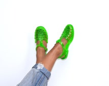 Vintage 80's Neon Green Jelly Sandals / Shoes Sz 8/8.5