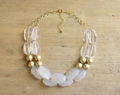Gold Clear and White Statement Necklace, Gold Beaded Necklace, Clear Statement Necklace, Chunky Gold Necklace, Multi Strand Neutral Necklace