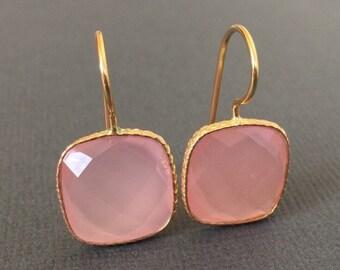 SALE- Cotten Candy Pink Chalcedony earrings, Square Chalcedony Earrings, Gemstone Dangle Earrings, Pale pink Chalcedony Earrings, Gold Earri