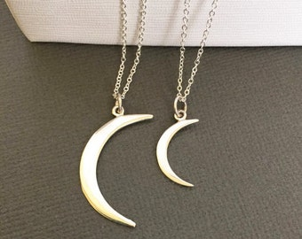 Mother Daughter jewelry, Silver Crescent Moon necklace, Moon, gift for Mother and daughter, Mother and Daughter Crescent Moon, Muse411