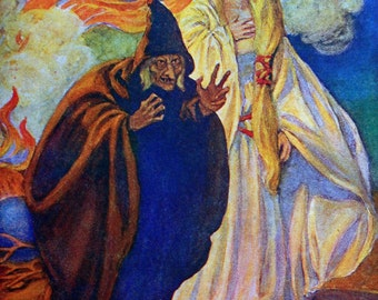 1913 WITCH and PRINCESS GRIMM Fairy Tale By Hope Dunlap Print Perfect for Framing