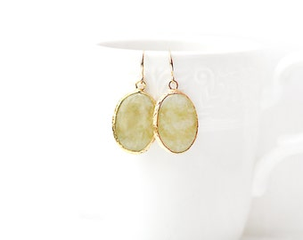 Polished Gold Plated Oval Yellow Jade Earrings