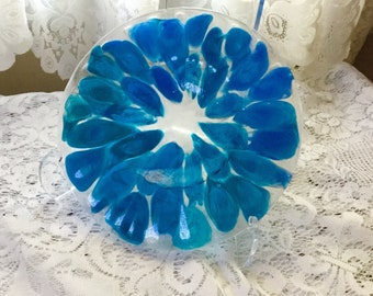 Fused Glass Dish, Blue Aqua Art Glass Dish, Blue Kiln Formed Decorative Tray - 008