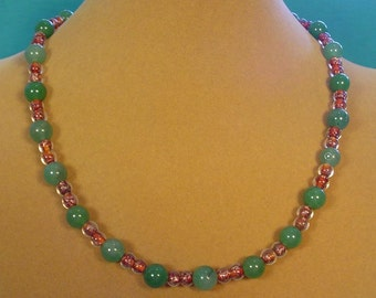 """19"""" Green Aventurine and Copper Lined Glass bead Necklace - N437"""