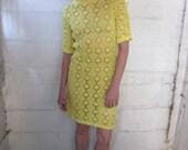 They Call Me Mellow Yellow 1960s Yellow Sheer Crochet Dress XS/S