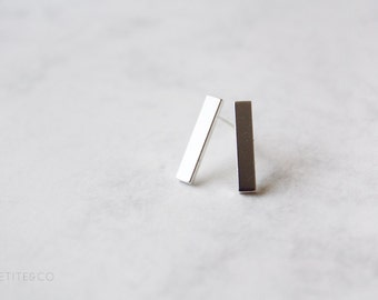 thin lines - minimalist staple bar studs - SILVER or GOLD tone / simple, everyday, geometric dainty jewelry - gift for her