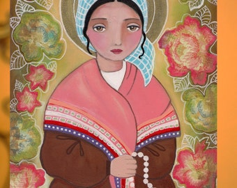 St Bernadette, Folk art, Original Mixed Media Painting On Wood Panel 8 x10 inch (20.5X 25.5 cm) by Evona