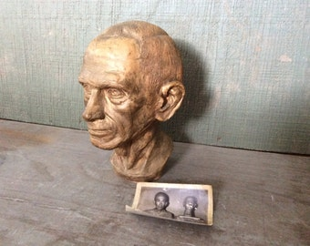 Now on Sale- Antique Signed Ceramic Bust of Man With Photo