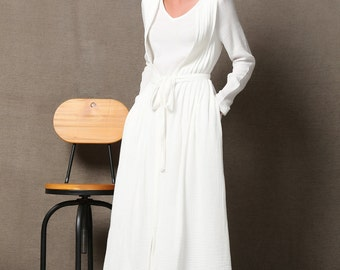 White Linen Maxi Dress, Layered Dress with Long Sleeves Drawstring Waist and Two Side Pockets  C604