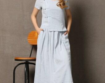 Light Blue Linen Dress - Casual Stylish Loose-Fitted Short-Sleeved Long Length Summer Woman's Dress C571