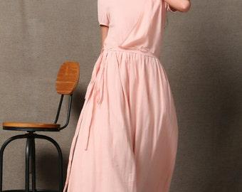 Elegant Pink Linen Maxi Dress C590