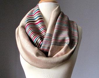 Pashmina infinity scarf, Beige infinity scarf, ivory scarf, multicolored stripe scarf, handmade scarf