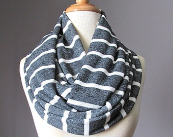 Dark gray scarf with white stripes, Sweater knit scarf, sweater scarf, charcoal scarf