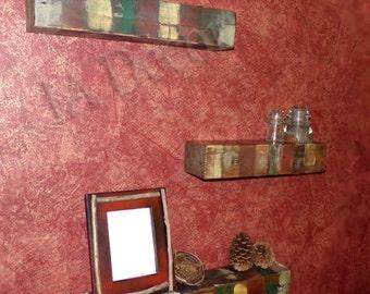 Multi Colored Floating Shelf -  Colorful Reclaimed Wood Floating Shelf - Beam Shelf