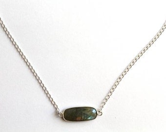 Labradorite and Sterling Chain Necklace, Labradorite Jewelry, Labradorite Necklace, Gemstone Jewelry, Gemstone Necklace, Sterling Silver