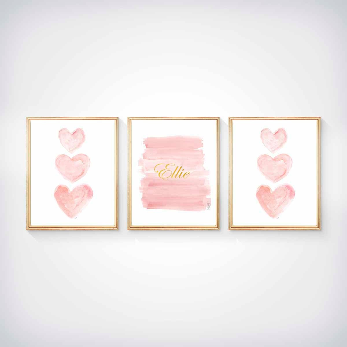 Blush and gold nursery art set of 3 8x10 watercolor prints for Pink wall art