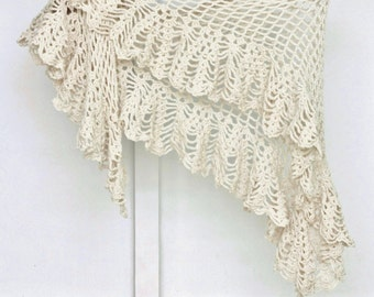 Crochet Cotton Shawl / Eco Friendly Natural Crochet Yarn / Bohemian Wedding Scarf / Boho Chic Crochet