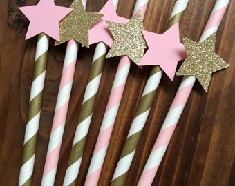 12 Twinkle Twinkle Little Star Baby Girl Pink and Gold Glitter Party Drinking Paper Straws
