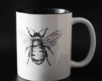 Botanical Bumble Bee - Hand Drawn -Hand Printed Cup
