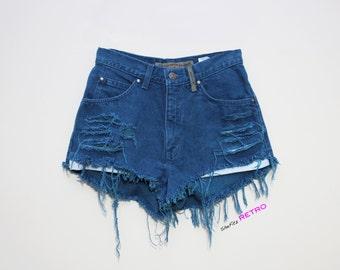 Drak Teal Destroyed Vintage High Waisted Levi Jeans