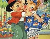 "Child's Room Art, Second Nursery Rhyme Art Series, Restored Antique Art Print ""Georgie Porgie Puddin' and Pie, Kissed the Girls""  #261"