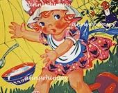 """Child's Room Art, Second Nursery Rhyme Art Series, Restored Antique Art Print """"Little Miss Muffet""""  #265"""