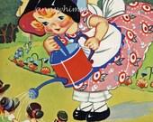 "Child's Room Art, Second Nursery Rhyme Art Series, Restored Antique Art Print ""Mistress Mary"" Gardener #266"