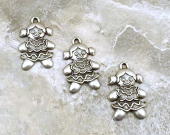 Three Pewter Gingerbread Girl Charms- Free Shipping in the US - (5267)