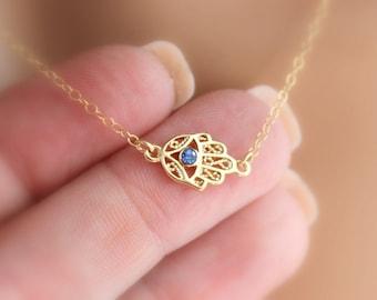Hamsa Necklace Gold Filled Montana Blue Austrian Crystal Pendant Women Sideways Hand of Fatima Kabalah Protection Jewelry