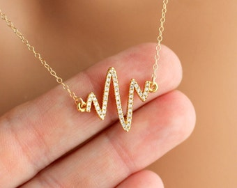 Heart Beat Line Necklace Gold Filled Pave Crystal Pendant Women Girls Necklaces Symbolic Jewelry Unique Love Gift for her