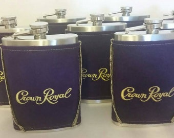 Crown Royal Flask Cover/Cozy Made From Crown Royal Bag with 8 oz Stainless Steel Hip Flask, Gifts for Him, Valentines Day Gifts for Men
