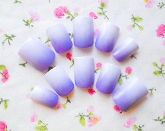 Purple Ombre Fake Nails, False Nails, Acrylic Nails, Press on, Nails, Ombre, Purple, Cute, Pretty