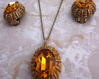 Vintage Yellow Gold Tone Amber Colored Rhinestone Necklace on Gold Tone Chain and 1960's Matching Clip On Earrings Set, Anniversary