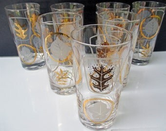 Gold and White Leaves Atomic Pattern Water Glasses Tumblers - Set of 7