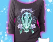 Clever Girl Velociraptor Skull and Flowers 3/4 Sleeve Wide Neck Sweatshirt Kawaii Fairy Kei Pastel Goth