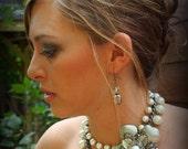 Bridal Jewelry - Pearl Necklace - Vintage Wedding Jewelry - Pearl Statement Necklace