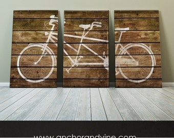 CANVAS // Tandem Bike on Brown Wood  //  Oversized Canvas Art, Large Canvas, Wall Decor, Home Decor, Gift Ideas, Bike Art, Marriage, Wedding